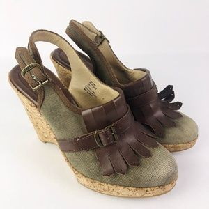 Frye Pepper Kilte Cork Wedge Shoes
